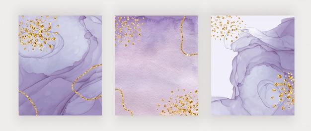 Fioletowy tusz alkoholowy i akwarele tekstury pokrywają się ze złotymi brokatowymi konfetti