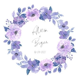 Fioletowy wieniec kwiatowy z akwarelą