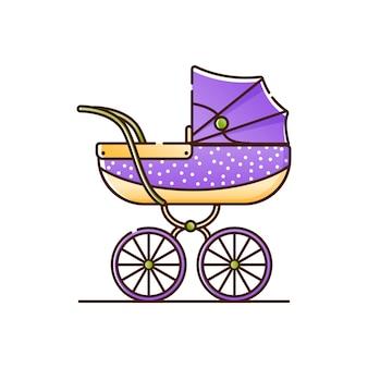 Fioletowy wózek dziecięcy w białe kropki