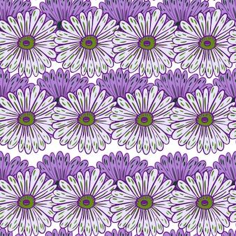 Fioletowy wyprofilowane dekoracyjne elementy słonecznika bezszwowe doodle wzór. na białym tle grafika naturalna. ilustracja wektorowa dla sezonowych wydruków tekstylnych, tkanin, banerów, teł i tapet.