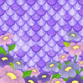 Fioletowy wzór rybiej łuski z wieloma kwiatami