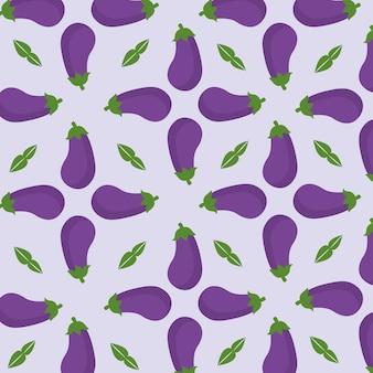 Fioletowy wzór z bakłażanem i liśćmi