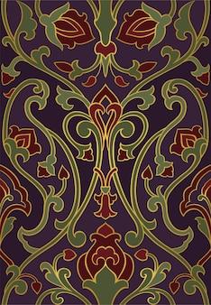 Fioletowy wzór ze stylizowanymi ptakami.