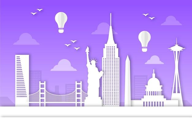 Fioletowy zabytków panoramę w stylu papieru