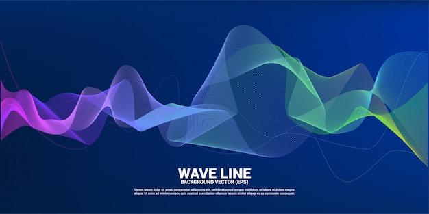 Fioletowy zielony fali dźwiękowej krzywej linii na ciemnym tle. element futurystycznej technologii tematycznej
