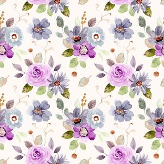Fioletowy zielony kwiat akwarela bezszwowe wzór