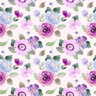 Fioletowy zielony kwiatowy akwarela bezszwowe wzór