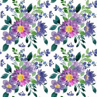 Fioletowy zielony kwiatowy wzór akwarela bezszwowe