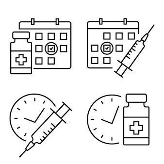 Fiolka medyczna i strzykawka z zegarem. ikona linii harmonogramu szczepień. symbol czasu drugiego wtrysku. koncepcja szczepień. koncepcja medycyny przeciwwirusowej. wektor