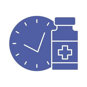 Fiolka medyczna z zegarem ikona linii harmonogramu szczepień czas na szczepienie koncepcja szczepień