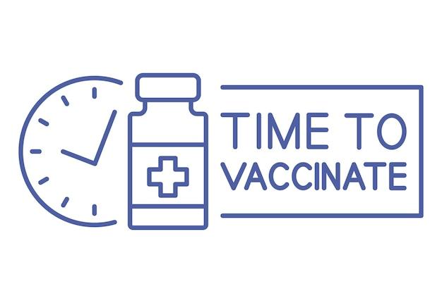 Fiolka medyczna z zegarem. ikona linii harmonogramu szczepień. czas się zaszczepić. koncepcja szczepień. opieka zdrowotna i ochrona. koncepcja medycyny przeciwwirusowej. wektor