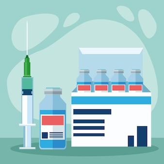 Fiolki szczepionki covid19 w pudełku i ilustracji strzykawki