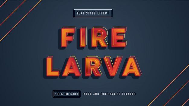 Fire larva edytowalny efekt tekstowy premium do pobrania za darmo