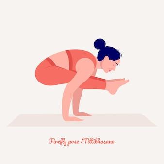 Firefly yoga pose młoda kobieta ćwiczy ćwiczenia jogi