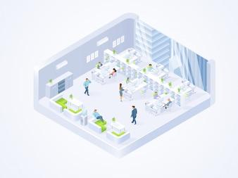 Firma biznesowa, wnętrze biura coworking center