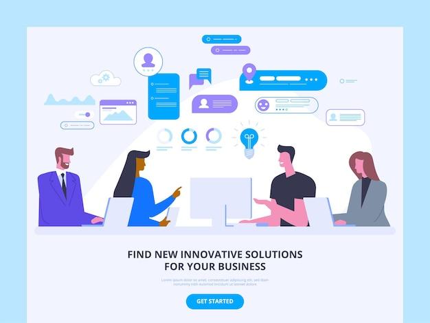 Firma doradztwa biznesowego strona internetowa pomysł na interfejs strony głównej spotkanie z inwestorami, dyskusja partnerska