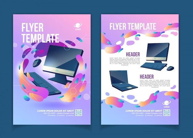 Firma handlowa komputerów, innowacyjna ulotka reklamowa informacyjna lub technologiczna lub kreskówka banerowa