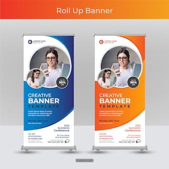 Firma korporacyjna roll up lub stand banner szablon z abstrakcyjnym wzorem