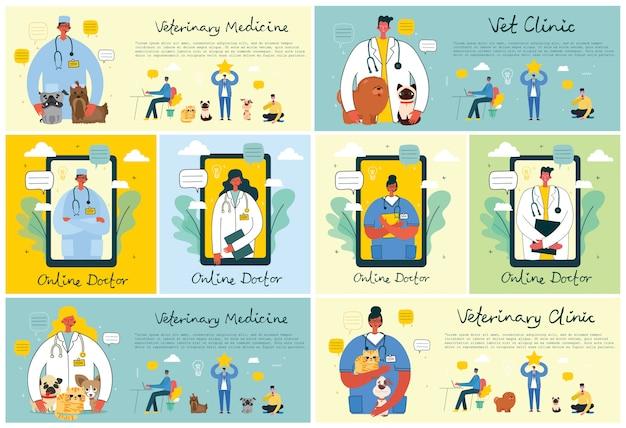 Firma medyczna koncepcja lekarza online. medycyna płaska koncepcja cyfrowa ilustracja lekarza z zestawem słuchawkowym rozmawia przez telefon na konsultację lekarską.