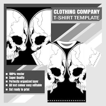 Firma odzieżowa, szablon koszulki, czaszka