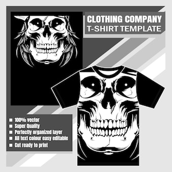 Firma odzieżowa, szablon koszulki, rysunek dłoni czaszki