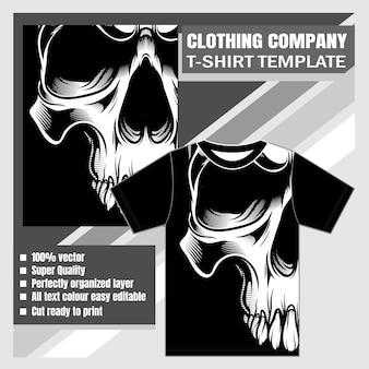 Firma odzieżowa, szablon t-shirt, ilustracji wektorowych czaszki
