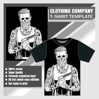 Firma odzieżowa, szablon t-shirt, wektor czaszki
