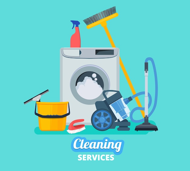 Firma sprzątająca. artykuły gospodarstwa domowego kuchnia spray wiadro odkurzacz środki czystości koncepcja tło.