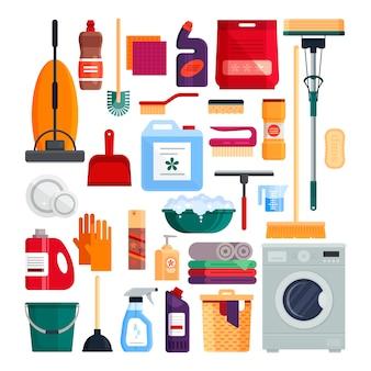 Firma sprzątająca. ustawia domowych cleaning narzędzia odizolowywających na białym tle. detergenty i środki dezynfekujące, sprzęt gospodarstwa domowego do prania.