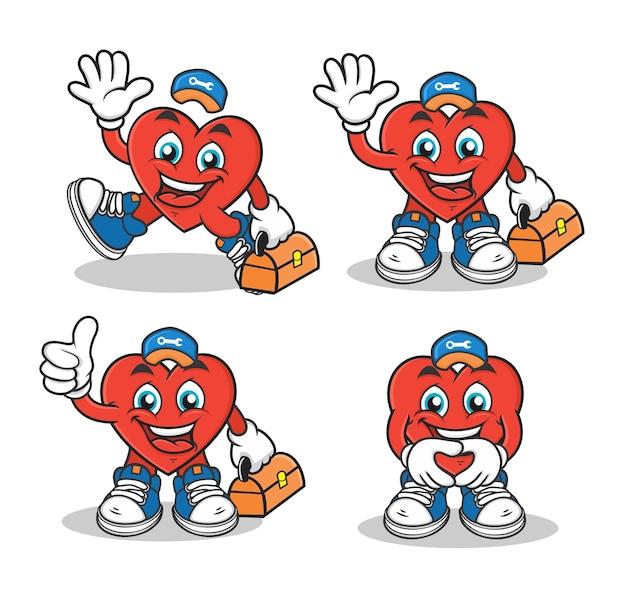 Firma usługowa kreskówka maskotka postać serca z kapeluszem i zestawem narzędzi