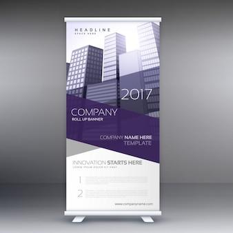 Firma zwinąć transparent z fioletowymi kształtach i budynków