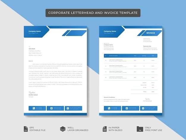 Firmowy papier firmowy i szablon faktury szablon projektu tożsamości marki biznesowej