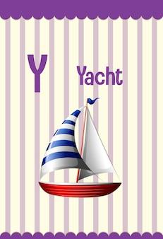 Fiszki alfabetu z literą y dla jachtu