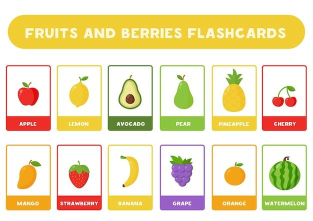 Fiszki dla dzieci z uroczymi owocami i jagodami z kreskówek. karty edukacyjne.