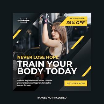 Fitness banner media społecznościowe