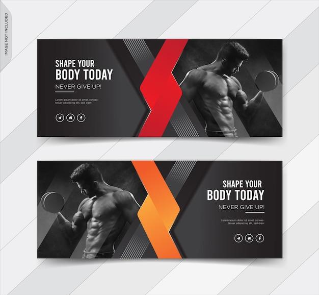 Fitness facebook obejmuje baner postu w mediach społecznościowych