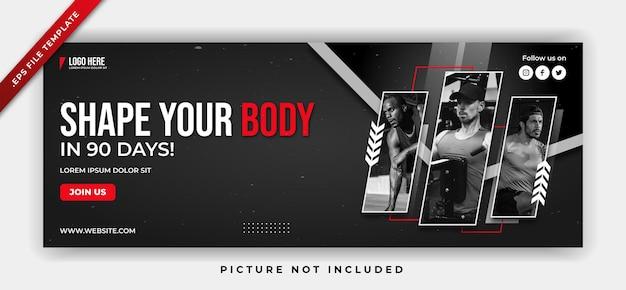Fitness gym banner web plakat media społecznościowe i szablon postu