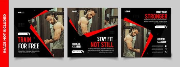 Fitness gym social media post banner square szablon ulotki