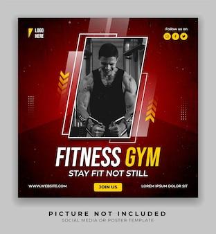 Fitness gym sport plakat mediów społecznościowych i szablon postu na instagramie