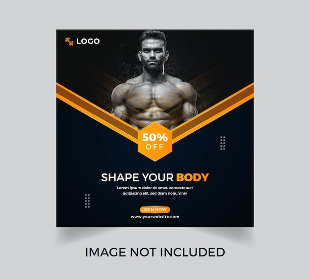Fitness gym workout social media plakat szablon projektu