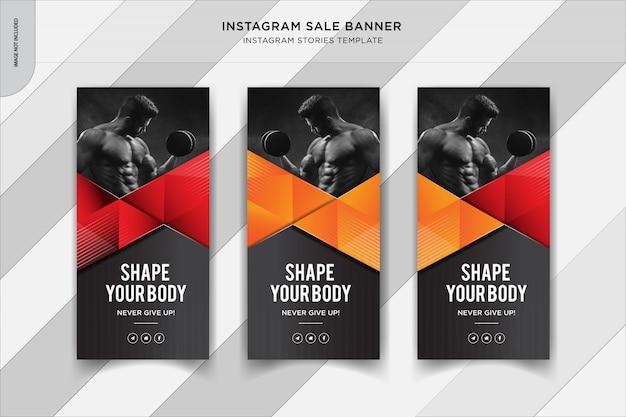 Fitness historie instapost banner, szablon post mediów społecznościowych