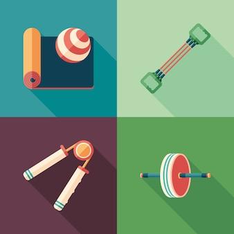 Fitness i pilates płaskie kwadratowe ikony z długie cienie.