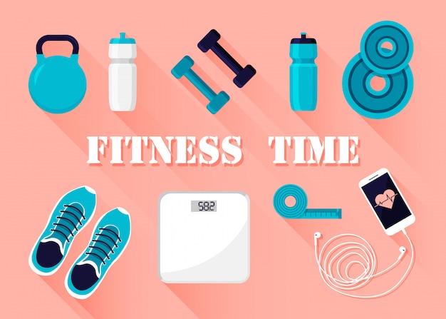 Fitness i sport sprzęt treningowy ikony na białym tle.