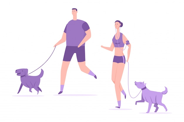 Fitness i sport z psami. młoda para uruchomić ze zwierzętami wektor ilustracja kreskówka na białym tle