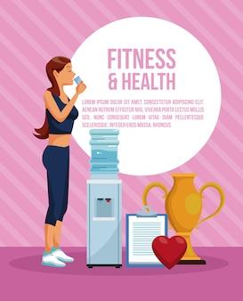 Fitness i zdrowie kobieta infographic