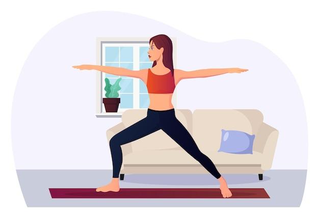 Fitness kobieta w pozycji jogi wojownik 2 w pomieszczeniu premium wektor