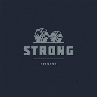 Fitness logo lub odznaka wektor ilustracja hantle sport sprzęt symbol sylwetka. szablon projektu godło typografii retro lub t-shirt wydruku stempla.