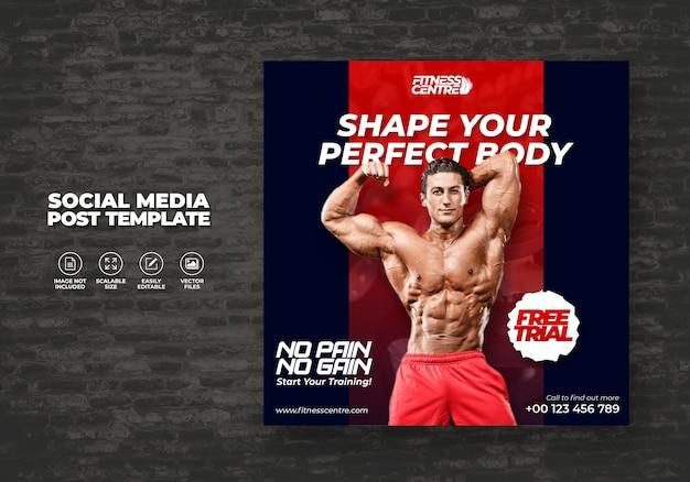Fitness lub siłownia baner social media lub kwadratowe ćwiczenia wzór ulotki