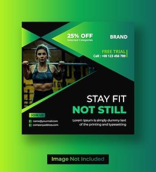 Fitness lub siłownia w mediach społecznościowych post lub projekt banera