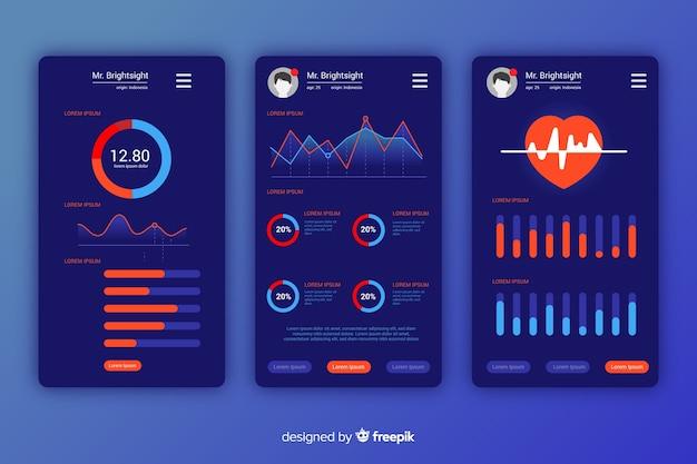 Fitness mobilna aplikacja infographic szablon płaski